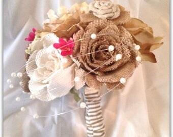 Burlap bouquet, set, rustic shabby chic wedding.