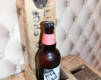Beer Bottle Opener-Wall Mounted-Rustic Solid Reclaimed Wood Pallets with(out) bottom beer cap catcher basket-Fathers Day Groom Best Man Gift