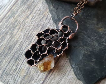 Citrine wasp nest necklace ~ crystal honey honeycomb beehive save the bees electroformed jewelry