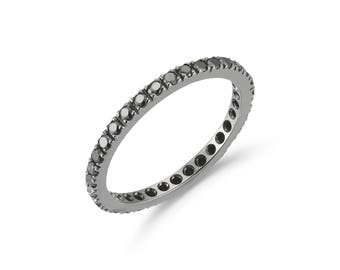 "A & Furst ""France"" Eternity Band Ring with Black Diamonds all around, French-set, 18k Blackened Gold."
