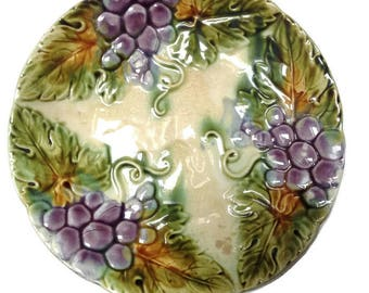 Antique french majolica plate, french collectible, decorative plate