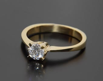 Solitaire ring, Yellow gold ring, Engagement ring, White stone ring, CZ solitaire ring, White cz ring gold, Gold solitaire ring