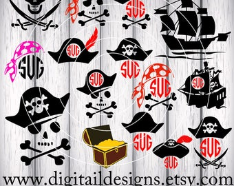 Pirate SVG Bundle - png - dxf - eps - fcm - ai - Silhouette - Cricut - Commercial Use SVG -  Pirate monogram - Pirate Clipart - Pirate Party