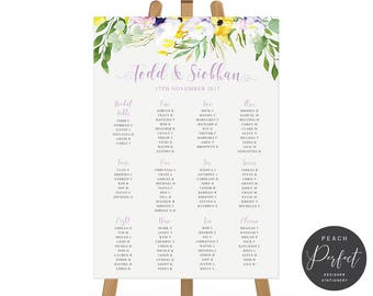 Printable Wedding Seating Chart, Seating Plan, Purple Florals and Foliage, Digital or Professionally Printed, Lilac Floral