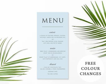 Wedding Menu, Custom Printable Menu, Modern Blue Menu, Free Colour Changes, DIY Wedding, Corporate Menu, Salt Water Suite