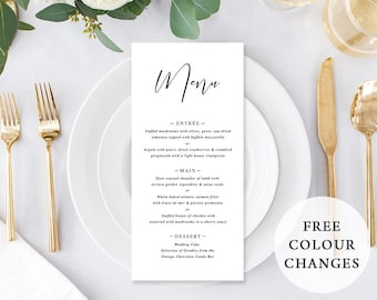 Printable Wedding Menu, Custom Menu, Black and White, Free Colour Changes, DIY Wedding, Cynthia Suite