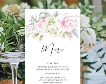 Wedding Menu, Printable, Modern Digital Menu, Soft Watercolour Flowers, Free Colour Changes, DIY Wedding, Gemma Suite