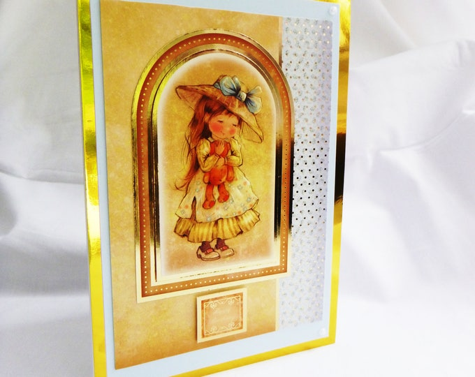 Birthday Card, Greeting Card, Female, Young Girl Holding a Teddy Bear, Yellow and Gold, Daughter, Sister, Niece