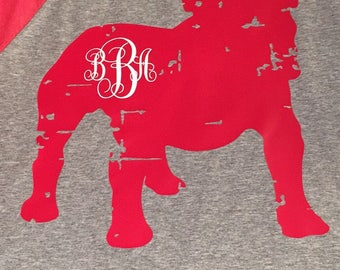 Unisex Adult Distressed Bulldog Raglan shirt