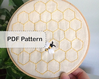 Honey Bee with Hexagon Background Embroidery Pattern - PDF - DIY Stitched Artwork