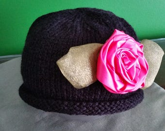 Black frill baby sweater and hat set