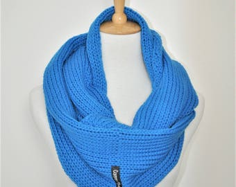 Blue knit circle scarf, Blue scarf, Knit Infinity scarf Blue, Gift women birthday, Her gift mom, Gift for her, Best friend gift , wife gift