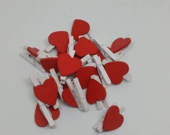 Red heart pegs. Scrapbooking weddings journals planners