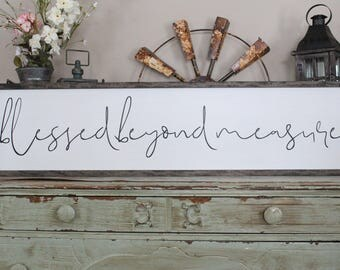 Blessed Beyond Measure Framed Wood Sign, God's Blessings Farmhouse Style Wall Art, Living Room Decor, Scripture Sign, Large Wood Sign Saying