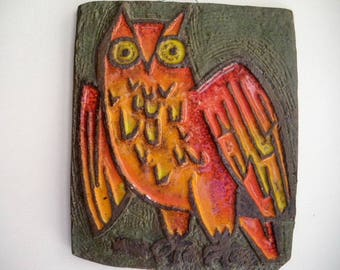 Vintage ceramic OWL plaque / OWL / 1970 / home decor / vintage decor / Stoneware / hand made / Made in france