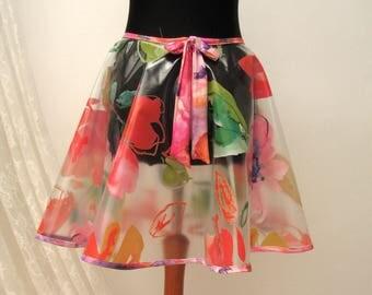 PVC Circle Skirt, clubbing flower skirt, cyberfashion skirt, clear pvc circle skirt, boho skirt, Colourful skirt, party skirt