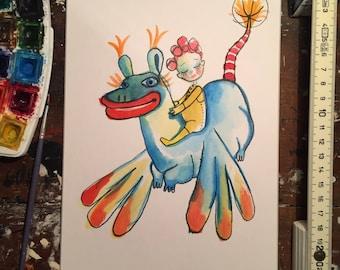 Girl riding on a dragon