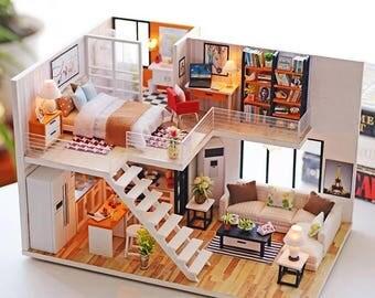 1:24 Scale Modern Loft Apartment DIY Dollhouse Kit - FREE SHIPPING