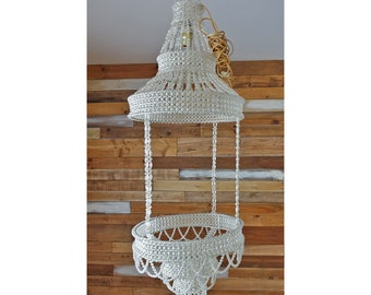 Romantic hanging lamp Large beaded ceiling lighting Princess decor Plastic beads Vintage suspension