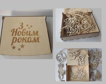 Set of 12 wooden Christmas decorations / wood Christmas decor in box / wooden Christmas tree toys/ wood Сhristmas  ornaments/ Ukrainian gift