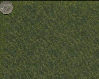 RJR Jenny Beyer Quilting Cotton Fabric Moss Green Pansy 126089 - 1/2 Yard