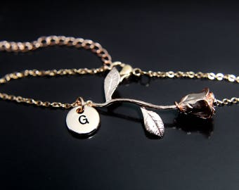 Valentines day gift rose necklace rose charm necklace valentines day gift rose bracelet rose gold initial bracelet rose charm bracelet rose gold charm gold mozeypictures Image collections