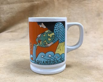 Aquarius Mug, 1970s Vintage Astrology Graphic Water Bearer January 19 February 18