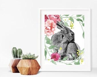Bunny Rabbit Printable, Rabbit Print Art, Rabbit Printable Art, Rabbit Print Decor, Rabbit Prints Nursery Rabbit Print, Printable Art,