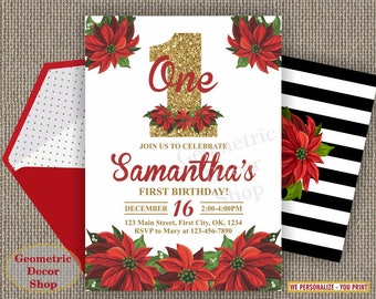Winter invitation Birthday invite Christmas Party red green gold glitter invites Floral poinsettia flowers Holiday black stripes BDW54