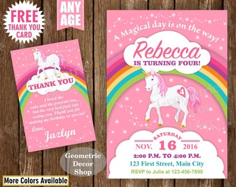 Unicorn Birthday Invitation , Pink Invitations , Girl Invite , Pink Invites , Magical Day , Rainbow , Birthday Photo Photograph BDU11/17