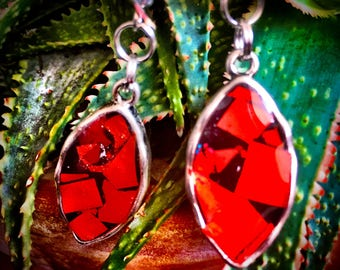 Hand Crafted earrings with bright red irrediscent color.