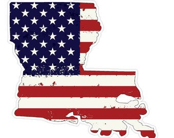Louisiana State (J19) USA Flag Distressed Vinyl Decal Sticker Car/Truck Laptop/Netbook Window