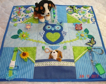 NEW NEW NEW Owl Fidget Activity Tactile Sensory Touch Quilt Wheelchair Blanket for Alzheimers stroke autistic dementia anxiety brain trauma
