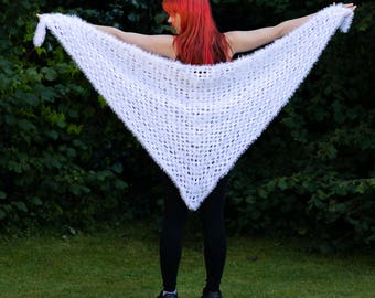 Brilliant white hand knitted wrap