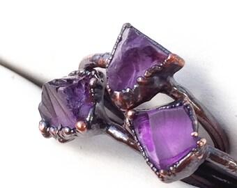 Raw Amethyst Ring, Raw Birthstone Ring, Amethyst Copper Ring, Raw Amethyst, Pisces Zodiac Ring, Zodiac Ring, Raw Crystal Ring, Amethyst Ring