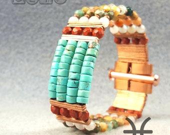 Bracelet, Gemstone glass Bracelet, Gemstone and copper bracelet - Suman Bracelet Seyoum Design