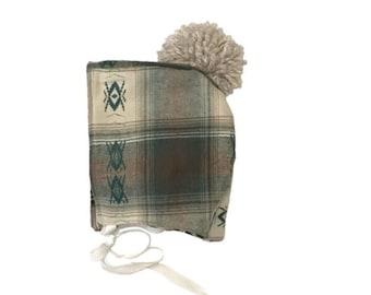 Ari - Aztec Plaid Bonnet / Trapper Hat