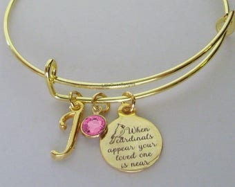 "GOLD"" When Cardinals Appear Your Love One Is Near ""W/ Birthstone  / INITIAL - Missing A Love One - Gift Personalize  Gift For Her Usa G1"