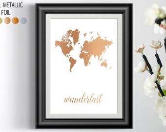 Wanderlust Wall decor, large print, Gold foil print, travel gift, world map wall art adventure awaits living room art Christmas Gift for him