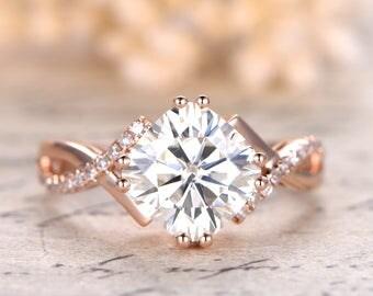 14K Rose Gold Moissanite Engagement Ring Wedding Bridal Ring Twist Wedding Band Split Shank Ring 8mm Cushion Forever Classic Moissanite Ring