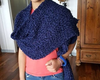 Crocheted Navy Blue Shawl