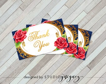 """Beauty and the Beast Printable Favor Tags, Printable 3.5"""" x 2"""" Favor Tags, Favor Tags, Instant Download"""