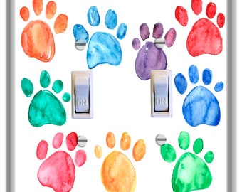 Paw Prints Light Switch Plate Cover Decor Kid Room Nursery Decor Baby Boy Girl Nursery Decoration