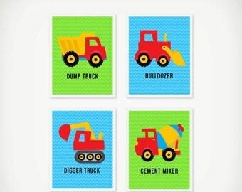 CIJ Sale Construction Truck Wall Art Set, Instant Download, Set of 4, Construction Theme Room, Truck Wall Art for Boys Room, Nursery Art, Bl