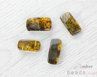 0291 // Baltic Amber beads, green color, 4 Pc