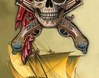 Pirate's Ship Beach Towel