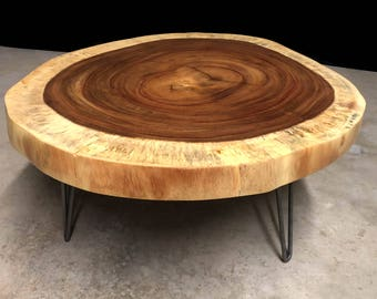 sale guanacaste live edge round coffee table ready to ship