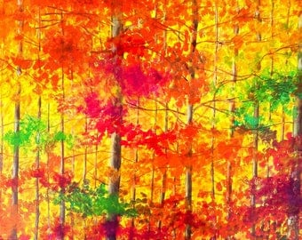 Painting landscape, autumn forest - Sabrina RIGGIO