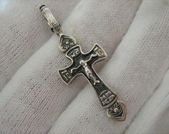 SOLID 925 Sterling Silver Darkened Oxidized Detailed CROSS PENDANT Crucifix Russian Cyrillic Inscription Prayer to the Venerable Cross