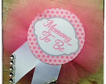 Baby Shower Pin Flower Ribbon Corsage Pin Brooch Bling Mommy To Be Mom